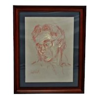 Vintage Framed Pastel Portrait Drawing - Artist Signed