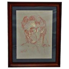 Vintage Framed Pastel Portrait Drawing - Artist Signed