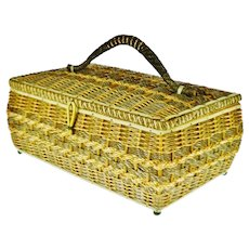 Vintage Japanese Wicker Sewing Basket