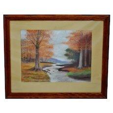 Vintage Framed Wooded Stream Landscape Pastel Drawing - Artist Signed