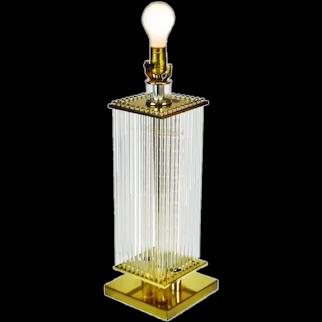 Mid Century Gaetano Sciolari for Lightolier Brass and Glass Rods Table Lamp