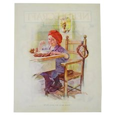 1923 Cream of Wheat Print Ad, Right Over The Home Plate, Edw. V. Brewer Art