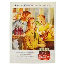 Vintage 1951 Coca Cola Print Ad, Serving Coke Serves Hospitality