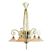 Authentic French Art Deco Chandelier Pink Champagne Shades