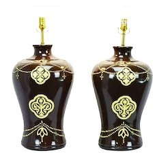 Large Scale Ginger Jar Style Ceramic Jamie Young Table Lamps - a Pair