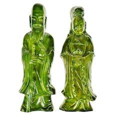 Art Deco Green Ceramic Glazed Asian Figural Wall Art - Set of 2