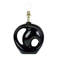 Art Deco Style Black Ceramic Swirl Table Lamp