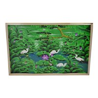 Large Scale Art Deco Textile Art Painting Professionally Framed