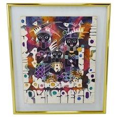 Greg Copeland Studios Floating Double Framed Glass-Encased Textile Art Batik Artist Signed