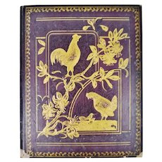 Antique Victorian Scrapbook Album Cover with Hen and Baby Chicks Design