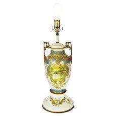 Vintage Japanese Nippon Moriage Gilt Urn Shaped Vase Lamp