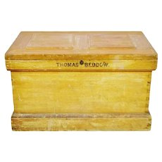 Early Wood Storage Trunk Chest, Family Trunk, Carpenters Chest