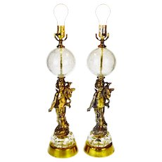 Vintage Hollywood Regency Cherub Crackle Glass Table Lamps - A Pair