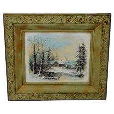 Victorian Gesso Framed William Henry Chandler Winter Scene Print