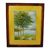 Vintage Framed Pastel Landscape Scene - Signed