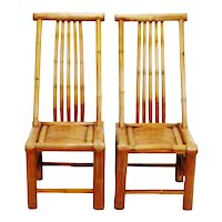 Vintage Handmade High Back Authentic Bamboo Accent Chairs - A Pair