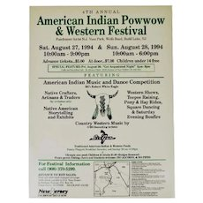 1994 Native American Indian 4th Annual Powwow Program