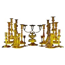 Vintage Brass Candlestick Holders - Group of 18