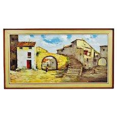 Large European Village Scene Framed Oil Painting on Canvas Signed Mayor