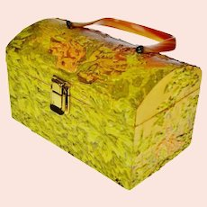 """Vintage 1960's Hand Painted and Signed """"Kay"""" Decoupage Box Purse with Bakelite Handle"""