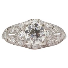 Sale! Platinum Art Deco 0.97ct GIA Diamond Engagement Ring
