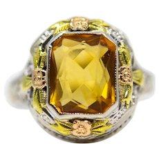 Art Deco Floral Citrine Ring in Multicolor 14K Gold