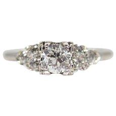 Vintage American 1.06ct Diamond Engagement Ring in Platinum