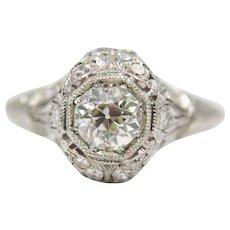 Hand Engraved Edwardian 1.17ct Diamond Engagement Ring in Platinum