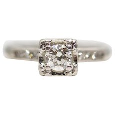 Mid Century Diamond Engagement Ring in Platinum