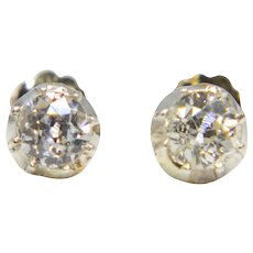 Victorian 0.80ct Old Mine Cut Diamond Stud Earrings