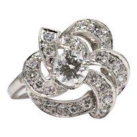 Retro Diamond Ribbon Engagement Ring in Platinum