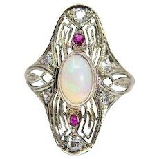 Belais Brothers Opal Diamond & Ruby Art Deco Ring