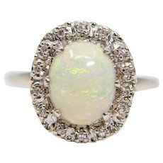Vintage Opal & Diamond Halo Ring in 14K White Gold