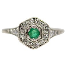 Edwardian Emerald & Diamond Ring in Platinum