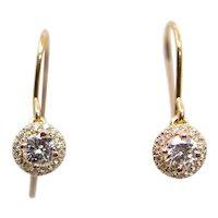 Sale! Sparkling Rose Gold Diamond Dangle Halo Earrings in 14K