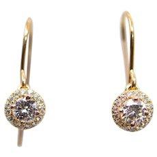 Sparkling Rose Gold Diamond Dangle Halo Earrings in 14K