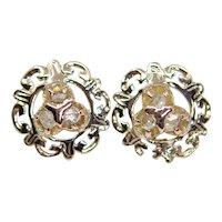 Sale! Victorian Rose Cut Diamond Earrings in 14k Yellow Gold