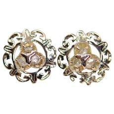 Victorian Rose Cut Diamond Earrings in 14k Yellow Gold