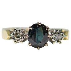 English Edwardian Style Sapphire & Diamond Three Stone Ring