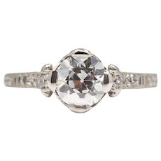 Sale! Edwardian Platinum 0.86ct GIA Diamond Engagement Ring