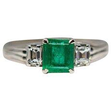 Art Deco Emerald & Diamond Three Stone Ring in Platinum