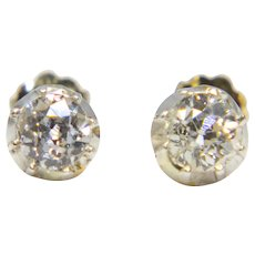 Victorian 0.80ct Old Mine Cut Diamond Stud Earrings