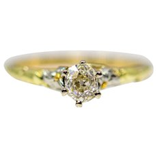 Arts & Crafts Floral Diamond Engagement Ring in 14K Gold