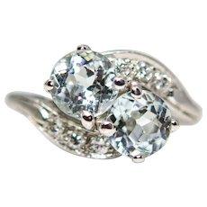 Retro Sky Blue Aquamarine & Diamond Ring in Platinum