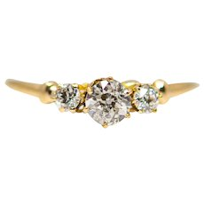 Edwardian 0.42ct Three Stone Diamond Ring in Yellow Gold