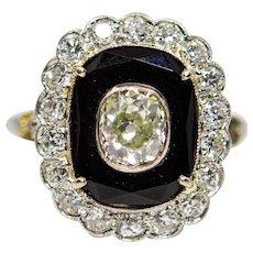 Belle Epoque Diamond & Onyx Engagement Ring in Platinum