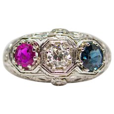 Patriotic Art Deco Floral Diamond, Ruby, and Sapphire Ring