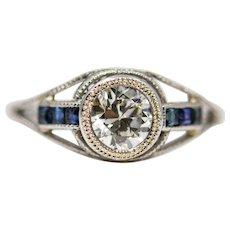 French Art Deco Platinum, Diamond, and Sapphire Engagement Ring