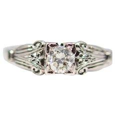 Jabel Art Deco Diamond Engagement Ring in 18K White Gold