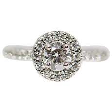 Glimmering Diamond Halo Engagement Ring in 18K White Gold